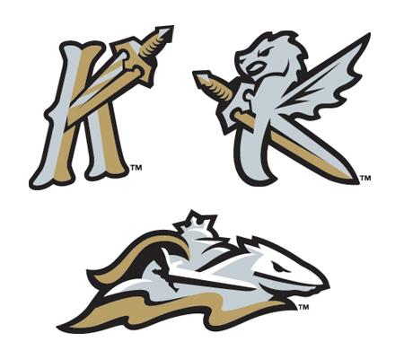 "The Knights' caps next season will include a batting practice model with a ""K"" combining an Olde English-inspired letter with a sword, a cap with a ""K"" formed by the image of a dragon and a sword, and a road hat with a knight astride a stylized horse."