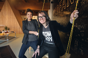 Emma McIlroy, right, with Wildfang co-founder Julia Parsley, says the values of Portland are in the DNA of her company.