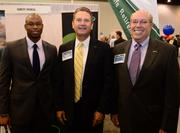 Christopher Stephens with the Atlanta Dream with Tim Richardson and Dave Fisher of County Financial.