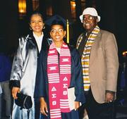 Dr. Jenel Wyatt with parents at her college graduation in 1998 at the University of Michigan.