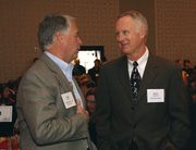 Leatherman Tools CEO and president Jake Nichol, left, with Rich Josephson of Schnitzer Steel.