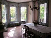 Argonne: The dining room features a bay window.