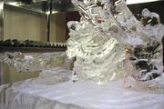The ice sculptures are changed every day. Sushi is held by this frozen dragon.