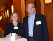 Tina Winter of Axium Healthcare Pharmacy and Robert Marchewka of Moss Krusick & Associates LLC met during the networking session.