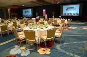A colorful ballroom awaits the networking guests.