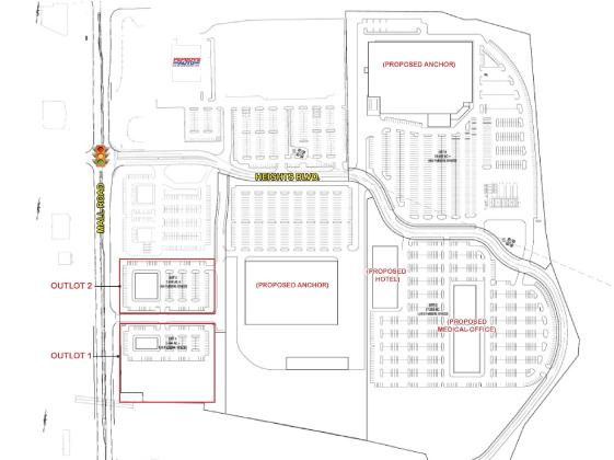 A flier for a large mixed-use project planned in Florence shows a proposed medical office building, hotel and two retail anchors as well as two retail outlots.