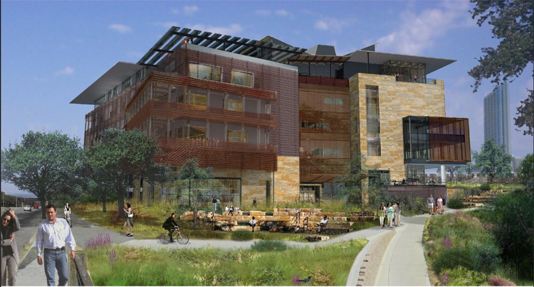 """The new central library, dubbed the """"Library of the Future,"""" will be built near the Seaholm development and the planned Green Water Treatment Plant on Cesar Chavez Street."""