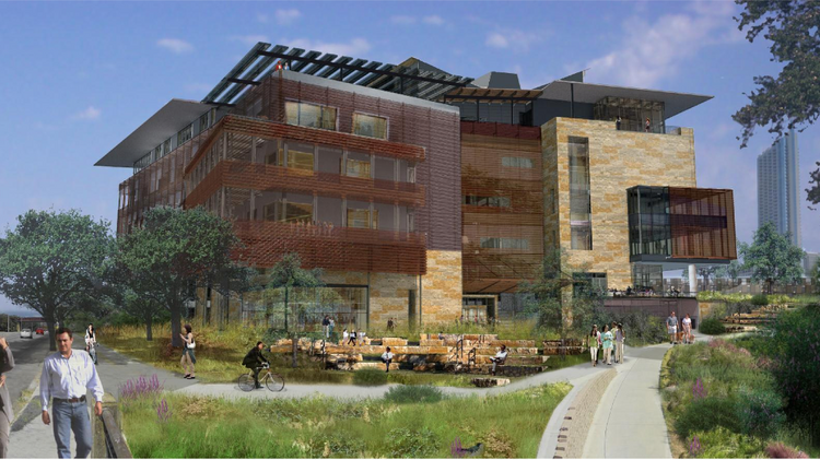 The new Austin Central Library is under construction near the Seaholm development and the Green Water Treatment Plant on Cesar Chavez Street.