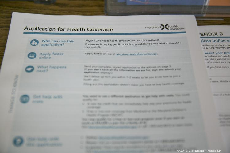 A Maryland Health Connection health insurance marketplace written application.