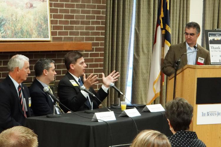 Rockingham County Schools Superintendent Rodney Shotwell, center, talks during The Business Journal's State of Rockingham panel discussion. Click through to see more photos.