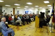 A crowd of more than 100 gathered at Rockingham Community College for the State of Rockingham event.