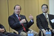 Vali Sorell (left) of Syska Hennessy Group responds to a question. Also pictured is Stephen Verp of Digital Realty.