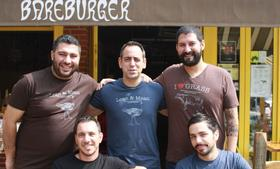 The founders of Bareburger are, clockwise from top left, Jimmy Pelekanos George Rodas, Euripides Pelekanos (CEO),  John Simeonidis  (CFO) and George Dellis. Pelekanos and Simeonidis got the idea for the burger chain when they were partners in a nightclub. Click ahead to see more.
