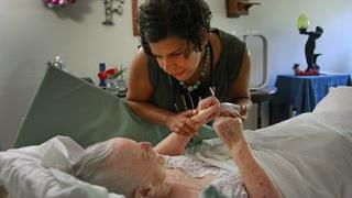 Housecall Providers Geriatric nurse practitioner, Amy Long, checking vitals on Flo, one of Housecall Providers hospice patients. Budget: $8 million Staff: 85 Executive director: Terri Hobbs Board chair: Mauro Hernandez