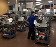 Nine meat and cheese carving stations were brought in to cut back on wait times.