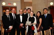 The sevneth annual Excellence in Structural Engineering Awards Gala was held at the Reagan Building in the District. The awards acknowledge projects demonstrating exceptional innovation, creativity and constructability, and structural engineers who have made outstanding contributions to the profession. From left, Scott Wood, Paul Hobelmann, Jerry Rasgus, Matthew Romano, Kaan Tanali, Macarena Schachter, Peggy Van Eepoel and David Jiang, all of Weidlinger Associates.