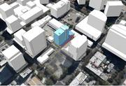 A diagram shows the relative mass of the proposed 19-story residential tower from DiNapoli Capital Partners at Market and Post streets. (This is not a rendering, but a simple mock-up to show relative size and scale.) It's difficult to tell, but the under-construction One South market apartment tower is shown in transparent outline center foreground.