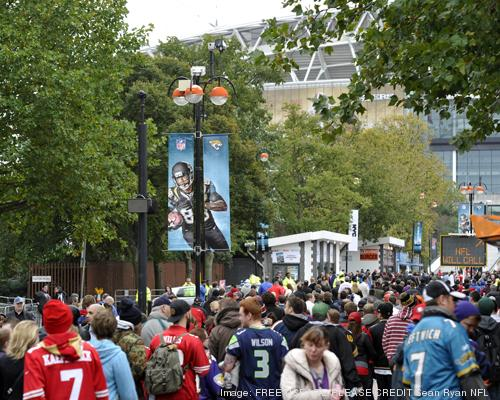 Fans arrive at Wembley Stadium prior to the Jacksonville Jaguars and San Francisco 49ers matchup in London.