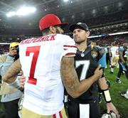 Jaguars quarterback Chad Henne congratulates Colin Kaepernick of the 49ers.  The Jaguars lost 42-10.