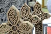A display of Celtic crosses in the vendor room