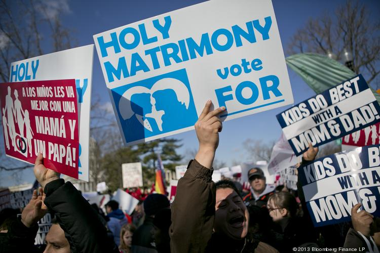 Opponents of same-sex marriage demonstrate outside the U.S. Supreme Court in Washington, D.C., on March 26, 2013