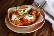 The spaghetti squash casserole has fresh mozzarella and organic tomato and zucchini.