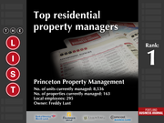 1: Princeton Property Management  The full list of the top residential property managers - including contact information - is available to PBJ subscribers.  Not a subscriber? Sign up for a free 4-week trial subscription to view this list and more today