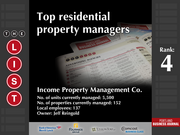 4: Income Property Management Co.  The full list of the top residential property managers - including contact information - is available to PBJ subscribers.  Not a subscriber? Sign up for a free 4-week trial subscription to view this list and more today