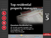 5: Quantum Residential Inc.  The full list of the top residential property managers - including contact information - is available to PBJ subscribers.  Not a subscriber? Sign up for a free 4-week trial subscription to view this list and more today