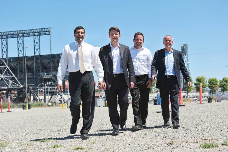 Rajiv Parikh, Scott Stafford, Jesse Blout and Michael Cohen, left to right, see the potential for a hotel in Mission Bay.