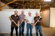 Wild Heaven Craft Beers founder Nick Purdy (left), Choate Construction employees and Wild Heaven Brewmaster Eric Johnson,