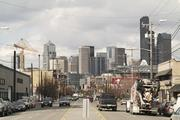 A view of First Avenue in Sodo, looking north toward downtown Seattle.