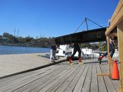 A Drexel University boat returning to the dock at Bachelors Barge Club. Drexel won the overall team points trophy.