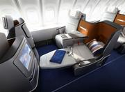 Lufthansa's new business class cabin on the Boeing 747-800 features seats angled towards each other to provide more personal space.