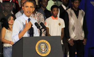 President Barack Obama addresses a crowd of student, educators, and local politicians at the P-Tech High School in Brooklyn, on Friday, October 25, 2013.