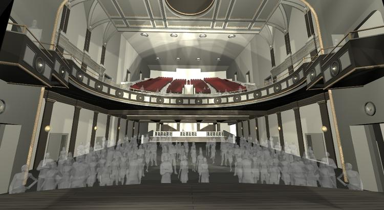 A rendering of the view from the Palace Theatre stage
