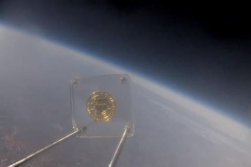The Nerdery sent a coin into the stratosphere Sunday to commemorate the Bloomington-based software developer's 10th anniversary.