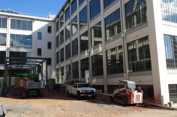 The new front entrance to 525@Vine will be the centerpiece of a building that will house Clinical Ink,  a new Forsyth Tech campus and YMCA Express, among other tenants, on the first and second floors.
