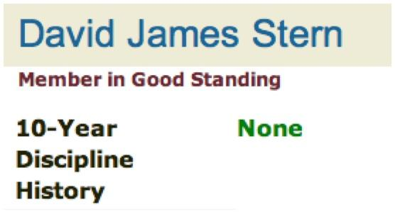 """Image showing portions of David J. Stern's """"good standing"""" profile on the Florida Bar's website."""
