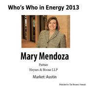 Eight American City Business Journals newspapers are publishing in November a joint Who's Who in Energy 2013 supplement that will include the movers and shakers in the energy industry from Austin, Columbus, Dallas, Denver, Houston, Pittsburgh, San Antonio and St. Louis. Here are eight - one from each market. We'll be publishing a slideshow of eight energy leaders from the regions once a week for the next several weeks. Who's Who in Energy 2013: Mary Mendoza (Austin).