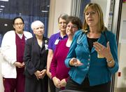 Dr. Valerie Creswell talks briefly about the Xenex room disinfection system now in use at Wesley Medical Center Tuesday morning at 550 N. Hillside.
