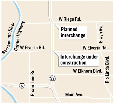 Two interchanges north of Sacramento on Highway 99 are on track in construction schedule, with one of them expected to open to traffic by year's end.