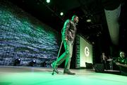 Packers wide receiver Randall Cobb walks down the runway.