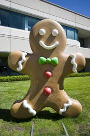 A closer look at the gingerbread man statue commissioned for the release of Android 2.3.3 Gingerbread. Note: not edible. None of the statues representing Google's food naming convention are, sadly.
