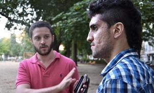 Cody Wilson (left) and Amir Taaki in Berlin in August 2013.