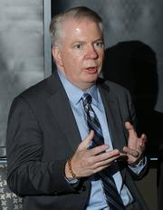 Sen. Ed Murray gestures at a Seattle mayoral candidates forum held by The 40, the PSBJ 40 under 40 alumni group.
