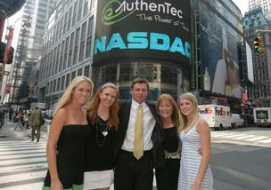 F.Scott Moddy with his wife and daughters in New York when AuthenTec went public in 2007.