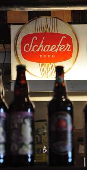 Craft beer for sale at The Grocery in downtown Troy, NY. Beer and wine can be purchased and consumed in the store.