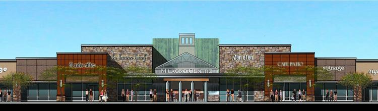 A conceptual rendering of Milagro Centre, a planned Carmichael shopping center patterned on public marketplaces.