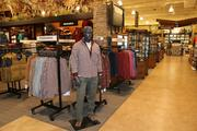 The center of the store has apparel, including footwear.